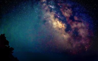 Center of milky way galaxy on dark night sky