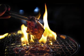 kookgrill varkensvlees plak op ijzeren net met hete kolen