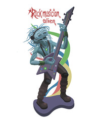 Rock musician alien plays guitar/ The rock musician plays an alien on the guitar, his thoughts passed the color of his playing and singing of his voice!