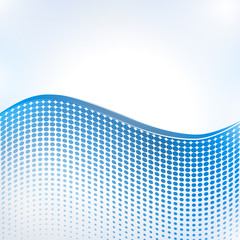 Abstract halftone wave in blue