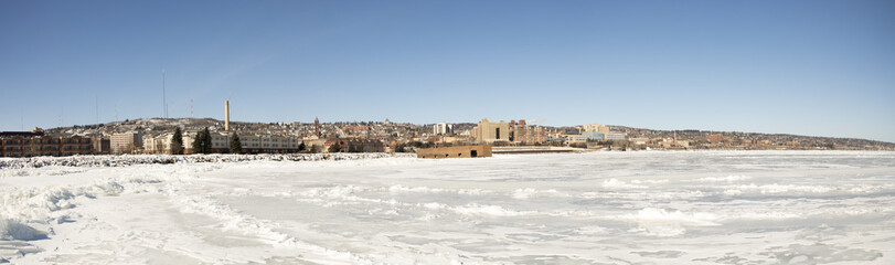 Panorama of Duluth waterfront with The Cribs on Lake Superior, Minnesota