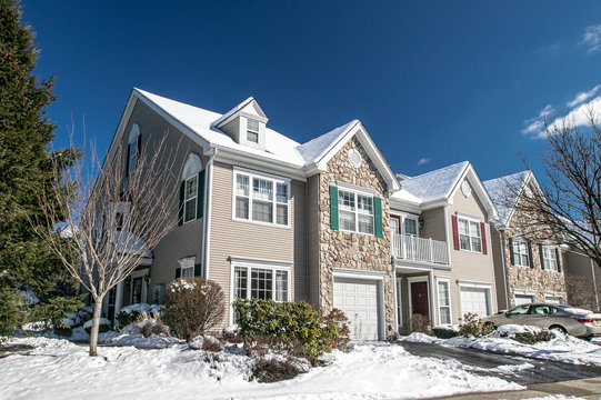 Townhouses in a suburban development in New Jersey after a recent snowfall.
