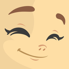 Cartoon girl exciting. Cute cartoon vector girl face expressions