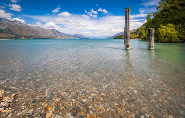 Alpine scenery view from Dart River banks at Kinloch camping resort, New Zealand