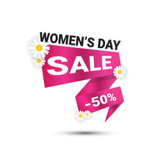 Discount Seal Template International Women Day Sale Sign Concept Promotion Sticker Vector Illustration