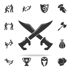 sabers icon. Set of Cfight and sparring element icons. Premium quality graphic design. Signs and symbols collection icon for websites, web design, mobile app