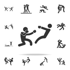 boxer knockdown icon. Set of Cfight and sparring element icons. Premium quality graphic design. Signs and symbols collection icon for websites, web design, mobile app