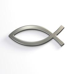 Silver Christ Fish . 3D Render Illustration