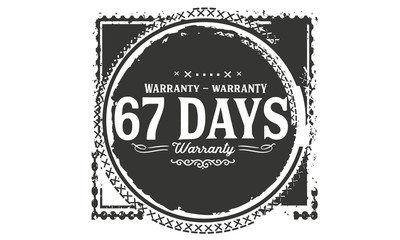 67 days warranty icon vintage rubber stamp guarantee