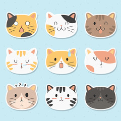 cute cats face stickers pack. cute cats with different emotions cartoon vector pack. printable stickers template vector.
