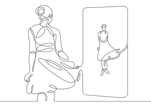 Continuous single one drawn line women, women in evening dress costume worn in front of the mirror. The concept of fashion is make-up.