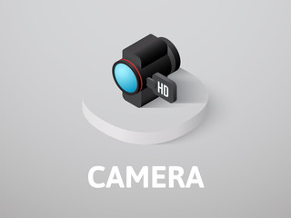 Camera isometric icon, isolated on color background