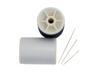 Black & White spools of thread for sewing and embroidery.