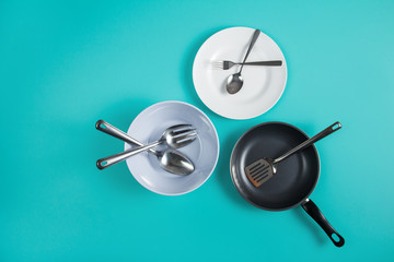 group of kitchen tools and dishware