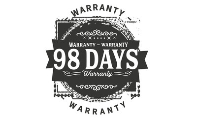 98 days warranty icon vintage rubber stamp guarantee