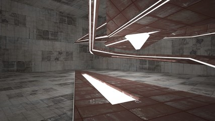 Empty smooth abstract room interior of sheets rusted metal and brown concrete. Architectural background. Night view of the illuminated. 3D illustration and rendering