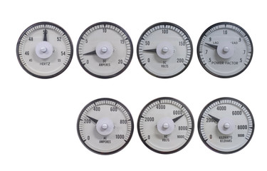 Set of analog meter for measuring electric volt, amp, power, frequency and power factor for monitor reading value before sync the electric system together. Gauge isolate on white with clipping path.