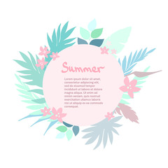 Summer tropical background with exotic palm leaves and plants. Vector floral background.