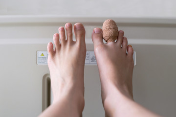 close up of bandage index toe of the female patient sleeping in the patient bed after an accident in the hospital. Wall mural