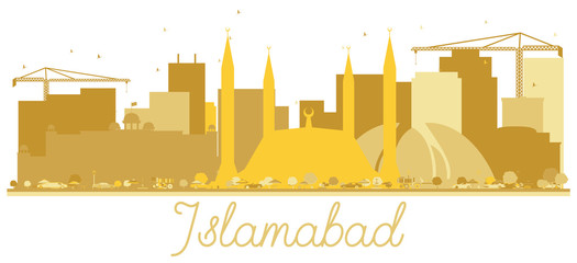 Islamabad Pakistan City Skyline Golden Silhouette Isolated on White.