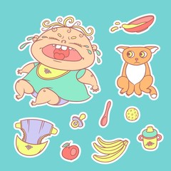 Vector set of color sketch illustrations stickers crying child and scared kitten. Baby bottle with water or milk and a plate of porridge, other food. The flat chubby curly wailing kid and sad red cat