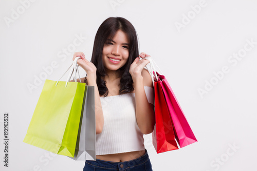 f31afcbdc85b8 happy smiling girl shopping, excited woman holding shopping bag isolated,  smiling girl happy woman shopping colorful bag, asian lady happy shopping  concept ...