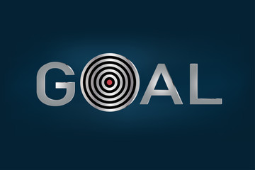 Goal metallic letters benner, success business concept vector.