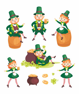 Images of a leprechauns in cartoon style. Saint Patrick's Day illustrations isolated on the white background. Vector set.