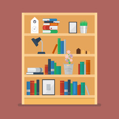 Wooden shelves with books and object decoration