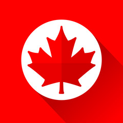 red and white maple leaf icon