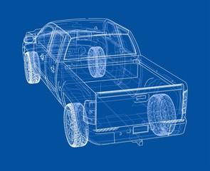 Car SUV drawing outline. Vector rendering