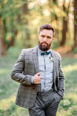 Handsome bearded hipster groom.