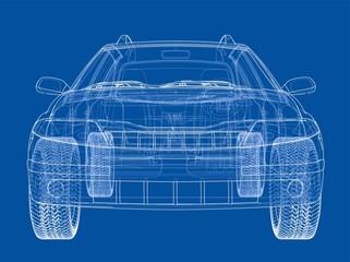 Concept car. Vector rendering of 3d