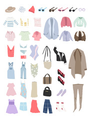 Illustration of different types of clothes