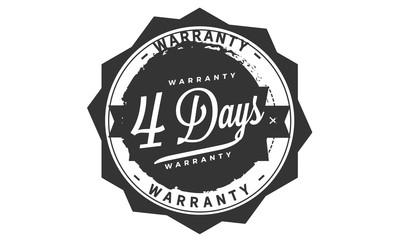 4 days warranty icon vintage rubber stamp guarantee