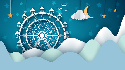 Cartoon paper landscape. Ferris wheel illustration. Vector eps 10