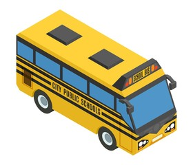yellow small isometric bus with blue glasses