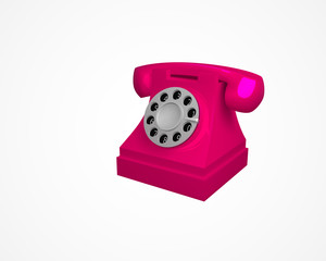 Pink vintage phone. Telephone isolated on white background. 3d vector illustration
