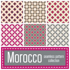 Set of 6 Morocco patterns background. Geometric seamless muslim ornament backdrop.