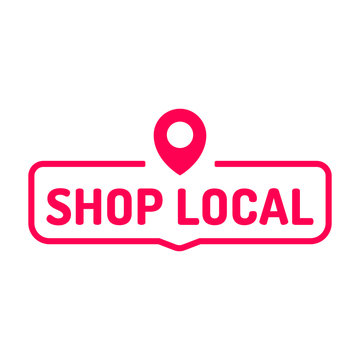 Shop local. Badge icon. Flat vector illustration on white background.