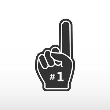 Foam finger. Number 1, black glove with finger raised flat, fan hand.
