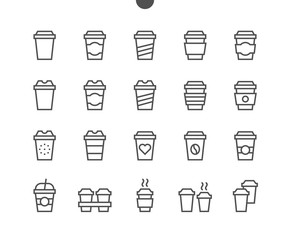 Coffee To Go Food UI Pixel Perfect Well-crafted Vector Thin Line Icons 48x48 Ready for 24x24 Grid for Web Graphics and Apps with Editable Stroke. Simple Minimal Pictogram