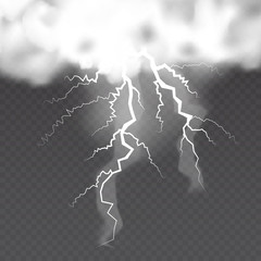 Realistic vector cloud and lightnings on transparent background. Vector illustration.