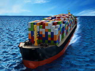 Cargo ship loaded with multi colored containers. 3D illustration