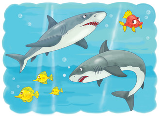 Cute sea animals. Ocean. Coloring page. Illustration for children