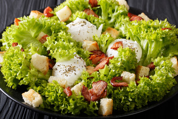French Lyons Lyonnaise salad with lettuce, croutons and poached eggs close-up on a plate. horizontal