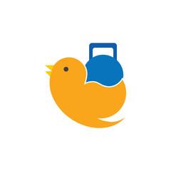Kettle Bell Bird Logo Icon Design