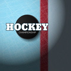 Hockey championship puck on ice top view eps 10 illustration