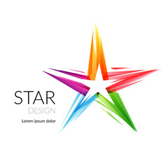 Modern colorful isolated star sign conceptual template