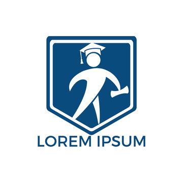 Student shield logo design. Educational vector logo design template.
